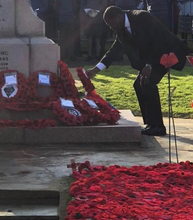 Ukonu Obasi pays his respects on Remembrance Sunday service in Gravesend