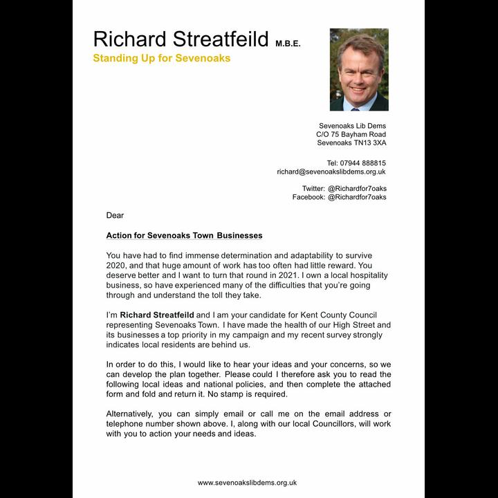 Sevenoaks High Street Business Letter 1 (Sevenoaks Lib Dems)